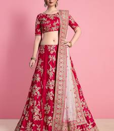 Rani Pink Velvet Embroidered Lehenga With Dupatta