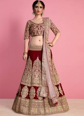 Maroon Velvet Embroidered Lehenga With Dupatta