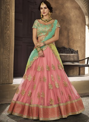 Baby Pink Net Embroidered Lehenga With Dupatta