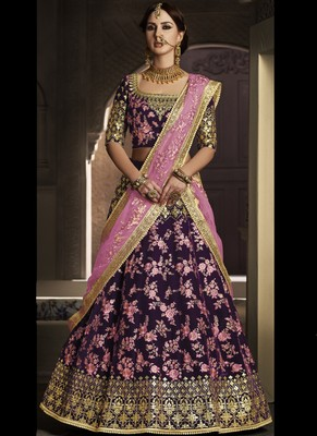 Purple Velvet Embroidered Lehenga With Dupatta