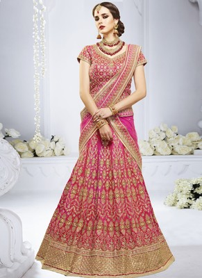 Rani Pink Silk Embroidered Lehenga With Dupatta