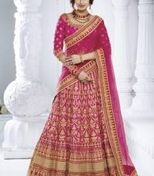 Buy Rani Pink Silk Embroidered Lehenga With Dupatta wedding-lehenga online