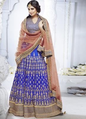 Blue Silk Embroidered Lehenga With Dupatta