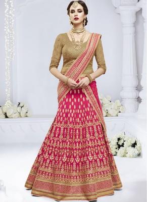 Rani Pink Dupion Silk Embroidered Lehenga With Dupatta