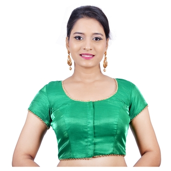Green cotton silk stitched readymade blouse