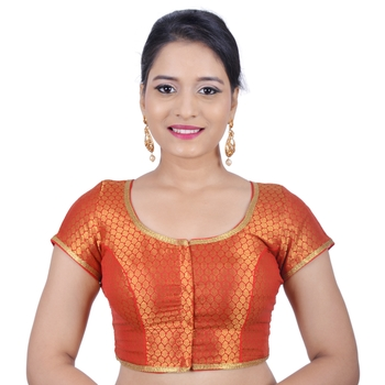 Red brocade stitched readymade blouse