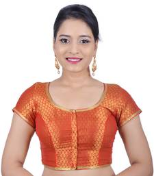 Buy Red brocade stitched readymade blouse readymade-blouse online