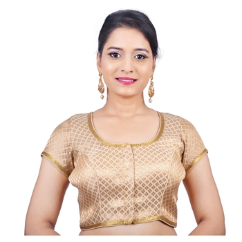 Gold brocade stitched readymade blouse