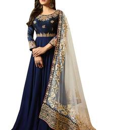 Dark-blue embroidered georgette Anarkali Suit