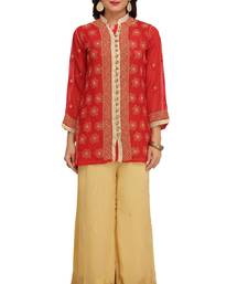 Red embroidered faux georgette chikankari-Short kurtis