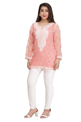 Peach embroidered faux georgette chikankari-Short kurtis