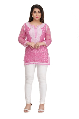 Onion pink embroidered faux georgette chikankari-Short kurtis