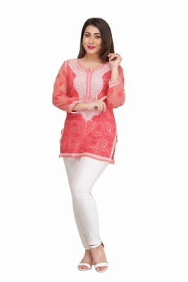 Pink Embroidered Faux Georgette Chikankari Kurti