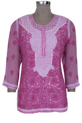 Onion pink embroidered faux georgette chikankari-kurtis