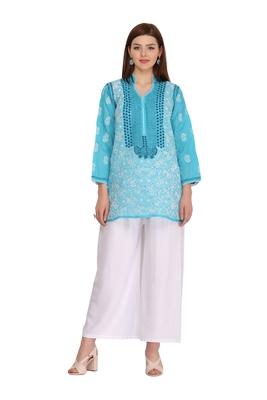 Blue embroidered cotton chikankari-Short kurtis