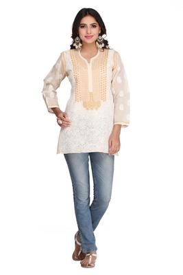 Fawn Embroidered Cotton Chikankari Short Kurti