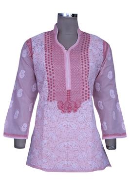 Pink Embroidered Cotton Chikankari Short Kurti