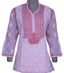 Pink embroidered cotton chikankari-Short kurtis