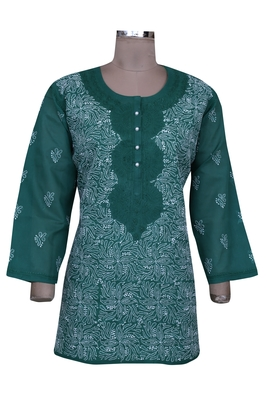 Green embroidered cotton chikankari-Short kurtis