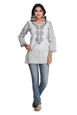 Grey embroidered cotton chikankari-Short kurtis