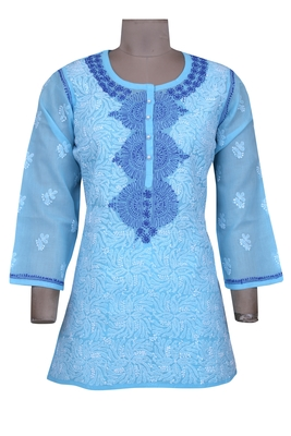Blue embroidered cotton chikankari-Short kurtis