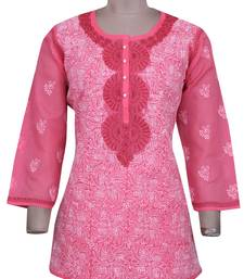 Pink embroidered cotton chikankari-Short kurtis