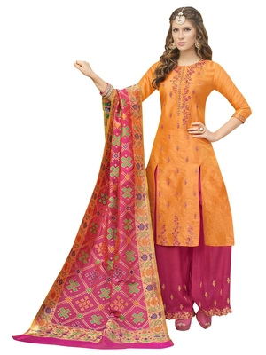 Orange Silk embroidered semi stitched salwar with dupatta
