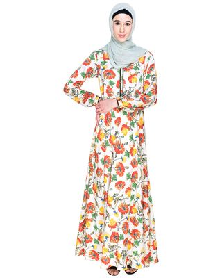 Multicolor Printed Crepe Stitched Islamic Abaya