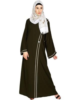 Olive Plain Nida Stitched Islamic Abaya