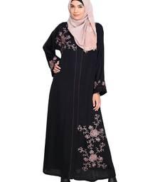 Black Embroidered Satin Stitched Islamic Abaya