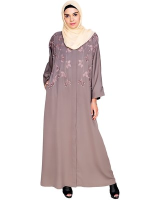 Mud Brown Embroidered Satin Stitched Islamic Abaya