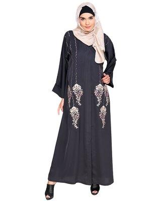 Dark Grey Embroidered Satin Stitched Islamic Abaya