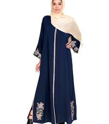 Dark Blue Embroidered Satin Nida Stitched Islamic Abaya