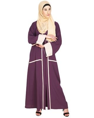 Purple Plain Nida Stitched Islamic Abaya