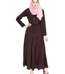 Dark Brown Embroidered Satin Nida Stitched Islamic Abaya