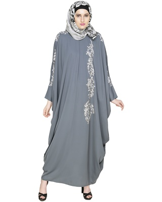 Grey Embroidered Satin Nida Stitched Islamic Abaya