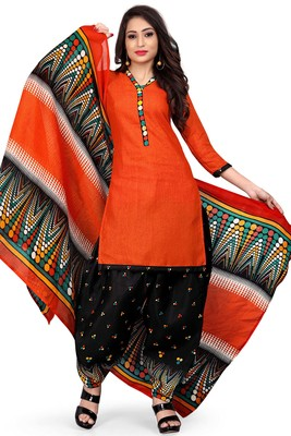 Orange Printed Cotton Salwar With Dupatta