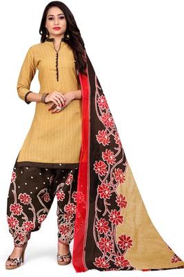 Beige Printed Cotton Salwar With Dupatta