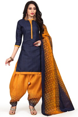 Navy-Blue Printed Cotton Salwar With Dupatta