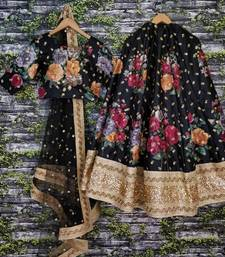 Buy Black thread embroidery art silk semi stitched lehenga floral-lehenga online
