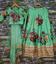 Buy Parrot-green thread embroidery art silk semi stitched lehenga floral-lehenga online