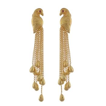 Golden Elegant Peacock Dangle Earring
