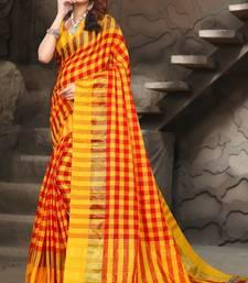Buy Yellow woven linen saree with blouse bengali-saree online