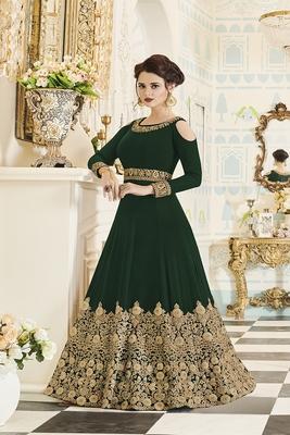 Dark Green Embroidered Georgette Semi Stitched Anarkali Salwar Suit
