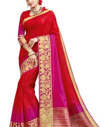 Red printed silk blend designer saree with blouse