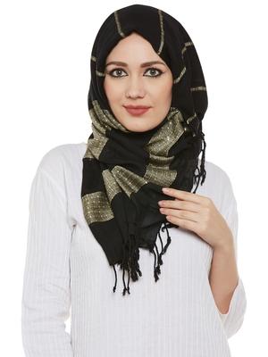 Black Viscose Islamic Hijab Head Scarf