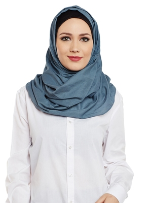 Blue Cotton Islamic Hijab Head Scarf