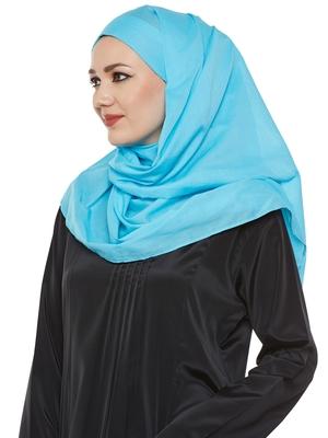 Blue Cotton Islamic Hijab Head Scarf