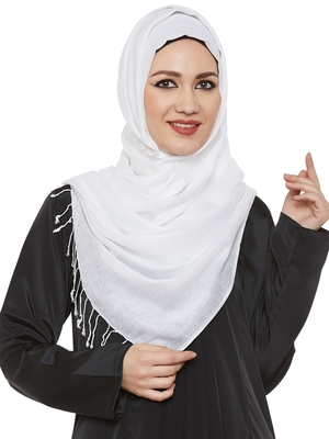 White Viscose Islamic Hijab Head Scarf