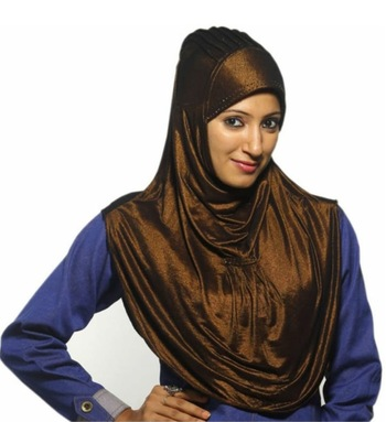 brown plane Stretchable Polyester Hijab